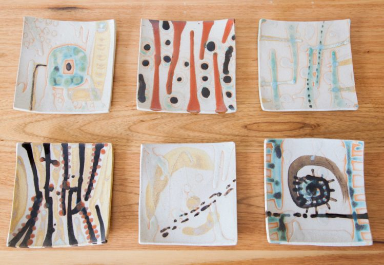 hand painted square plates
